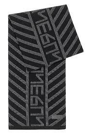 HUGO - New-season logo scarf with jacquard-<b>knitted pattern</b>