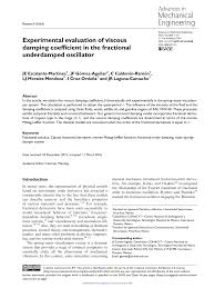 Viscous Damping Experimental Evaluation Of Viscous Damping Coefficient In