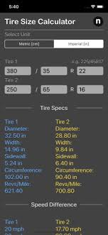 Tire Size Chart Comparison Tire Size Calculator Plus Ios Apps For Iphone And Ipad Nitrio