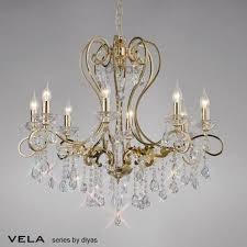 vela large 8 light french gold chandelier with asfour crystal