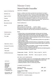 Sample Mental Health Counselor Resume
