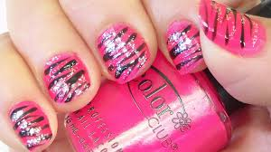 Pink and Black Zebra Stripes Nail Art Tutorial - YouTube