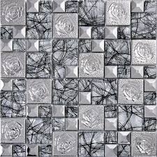 Silver Patterns Classy Silver 48 Stainless Steel Flower Patterns Mosaic Metal Glass