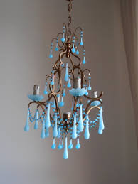 italian birdcage chandelier with murano opaline and macaroni beads