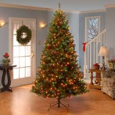 Home Accents Holiday 7 Ft To 10 Ft LED PreLit Adjustable Rising Pre Lit Spruce Christmas Tree