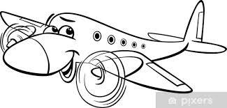 Fotobehang Vliegtuig Cartoon Kleurplaat Pixers We Leven Om Te