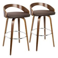 walnut and brown faux leather bar stool set of 2