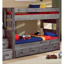 Fort Driftwood Rustic Twin-over-Twin Bunk Bed with Storage Drawers ...