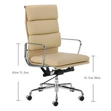 milan direct replica eames executive office. Milan Direct Eames Premium Leather Replica High Back Soft Pad Management Office Chair Executive M