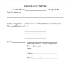 17 Certificate Of Service Templates Sample Templates