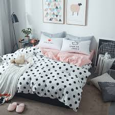 white duvet cover sets black dots printed pink flat sheet comfortable and simple 100 cotton fit for teenagers and s
