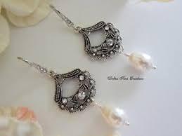 swarovoski crystal pearl chandelier earrings pearl wedding bridal bride earrings formal jewelry mother of bride groom gift antique silver