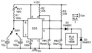 555' monostable circuits nuts & volts magazine for the 8 Pin Timer Relay Diagram simple two range, 1 1s to 120s, relay output timer 8 pin time delay relay wiring diagram