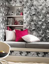 Small Bedroom Girls Mesmerizing Black White Gray Butterfly Wallpaper Decoration In