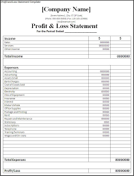 Profit And Los Profit And Loss Statement Form Printable On The