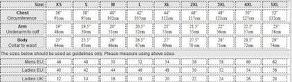 Us Standard Shirt Size Chart Standard Size Chart