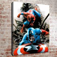 2018 no frame spiderman and captain america hd canvas print wall art oil painting pictures home decor bedroom living room kitchen decoration from santarona