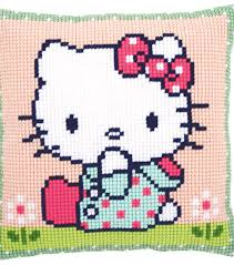 Vervaco Cross Stitch Charts Vervaco Cushion Counted Cross Stitch Kit Hello Kitty On The Lawn
