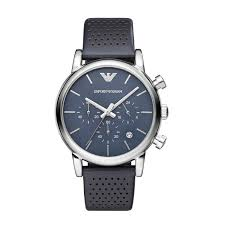 emporio armani men s blue dial black leather strap watch