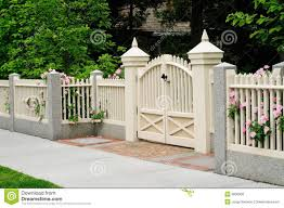 white fence ideas. Brick Column And White Fence With Gate | Elegant On House Entrance. Ideas H