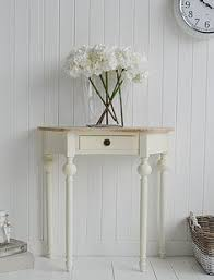 cream console table. Cream Cottage Half Moon Small Hall Table With Drawer. Ideas In Country Home Decorating Console