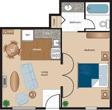 standard 1 bedroom 1 bathroom apartment floor plan