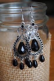 black earrings designer jill mcfee materials alloy cabochon settings glass beads black is perfectly suitable for the alloy setting do you agree with