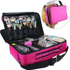 professional makeup train case cosmetic organizer make up artist box 2 layer large size 16 54 11 42 5 51 with adjule shoulder for makeup brush hair