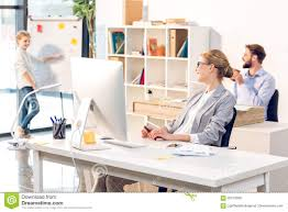 home office whiteboard. Download Woman Working In Home Office, Happy Family With Computer And Whiteboard Stock Image - Office M