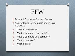 ap lang and comp ms bugasch goals compare  ffw o take out compare contrast essays o answer the following questions in your notebook