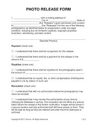 Photography Release Form Free Photo Release Forms Word PDF EForms Free Fillable Forms 4
