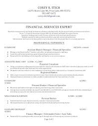 Financial Resume Template Impressive Resume For Personal Banker Personal Banker Resume Template R 48
