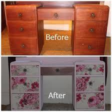floral decoupage furniture. Decoupage Vanity Salvage Makeover Floral, Chalk Paint, Decoupage, Painted Furniture Floral