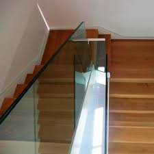 glass railing with panels indoor for stairs