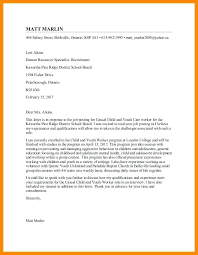 Outreach Worker Cover Letter Child And Youth Worker Cover Letter