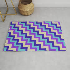 purple turquoise and white chevron rug