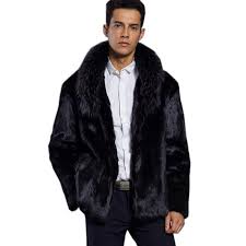 faux fur coat men coat black turndown collar long sleeve black m