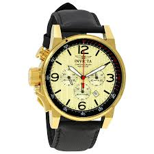 invicta watches jomashop invicta i force chronograph gold dial black leather men s watch