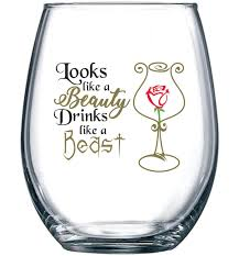 looks like a beauty drinks like a beast funny disney princess wine glass perfect girlfriend birthday gifts best friend gift for women belle rose