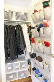 hall closet organization and storage ideas behind the door shoe organizer for mittens and gloves