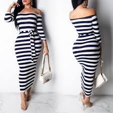 <b>Sexy Striped</b> Print Long Dress Women Long Sleeve <b>Spring</b> Summer ...