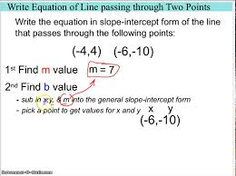 write equation of line given 2 points