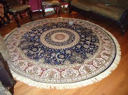 luxury large round rugs silk traditional area navy rug with fringe circle persian living room shape