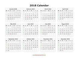 blank calendar 2018 landscape