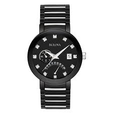 bulova watches men s women s bulova watches from zales men s bulova diamond accent watch black dial model 98d109