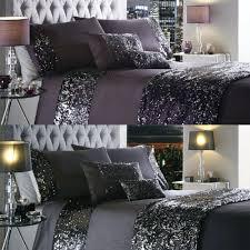 sequin bedding pink single silver set duvet