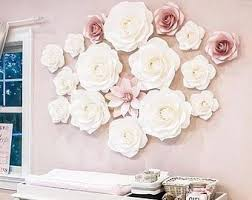 White Paper Flower Wall Paper Flower Wall Etsy