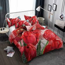 3d lily duvet cover set designer luxury bedding sets red tulip fl green flower decorative bedding set with pillow sham all size t duvet covers black and