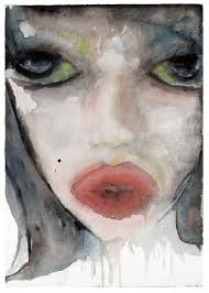 watercolour painting entitled lecheuse by marilyn manson