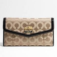 Luxuryetrue Coach Madison Op Art Check Wallet Khaki43641